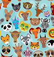 Seamless pattern cute face funny animals on blue vector image