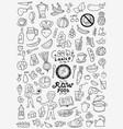 raw food doodles vector image vector image