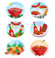 bbq grill stickies set vector image