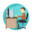 Office man working by vector image vector image