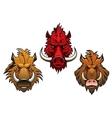 Fierce cartoon wild boar characters vector image