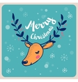 Christmas background and greeting card with deer vector image
