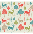 Retro Forest Deer Pattern vector image vector image