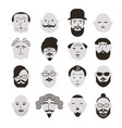black and white faces of men vector image