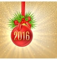 Christmas background with red ball and berry holly vector image