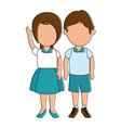 little students with uniform characters vector image