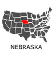 state of nebraska on map of usa vector image