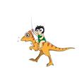Man and dinosaur cartoon vector image vector image