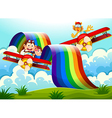 Playful animals near the rainbow above the hills vector image