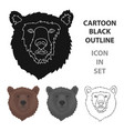brown bear muzzle icon in cartoon style isolated vector image