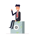 Businessman or manager sits on a private safe vector image