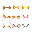 cute cartoon animal ears set vector image