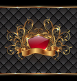 Gold elegance frame with heraldic shield vector image