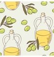 Seamless pattern with hand drawn olive oil vector image