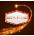 Shining retro frame with falling golden star vector image