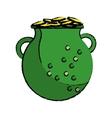 cartoon st patrick day green pot golden coins vector image