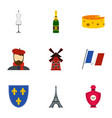 Paris icons set flat style vector image