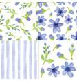 watercolor blue flowersstrips seamless patter vector image