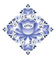 russian gzhel pattern - square shape floral retro vector image