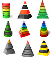 set of pyramids vector image vector image