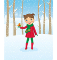 girl walking in winter forest vector image vector image