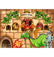 Game template with dragon and knight vector image vector image