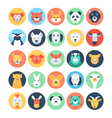 Animal Avatars Flat Icons 2 vector image