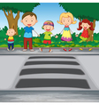 family crossing road vector image vector image