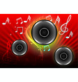 abstract musical with speakers on red background vector image