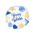 big winter poster christmas greeting card merry vector image