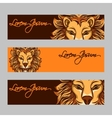 Horizontal web banners with lion face vector image