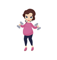 Pregnant woman exercising with training weights vector image