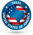 Texas state blue label with state map vector image