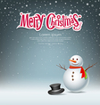 Snowman design on snowflake background vector image vector image
