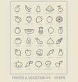 Contour icons of vegetables and fruit vector image