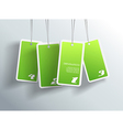 Four hanging green cards You can place your own vector image vector image