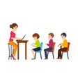 teacher holds lecture among students in audience vector image