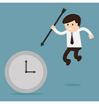 Businessman hold the arrow killing the time vector image