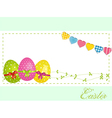 Easter eggs background panel and bunting vector image vector image