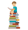 Little boy reader vector image