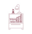 Dark red line contour of nightstand with cordless vector image