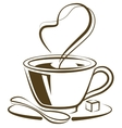 Hot coffee cup with piece of sugar vector image