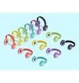 Isometric colored headphones vector image