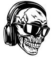 skull in headphones and sunglasses vector image