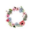 Watercolor flowers wreath vector image