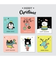 Christmas hand drawn doodles and greeting cards vector image