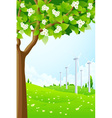 Green Landscape with Wind Power Plant vector image vector image