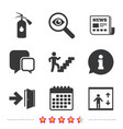 emergency exit icons door with arrow sign vector image