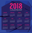 2018 abstract graphic printable calendar vector image