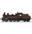 Classic brown steam locomotive vector image
